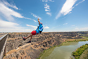 Miles Daisher flying from the Perrine Bridge in Twin Falls, Idaho.