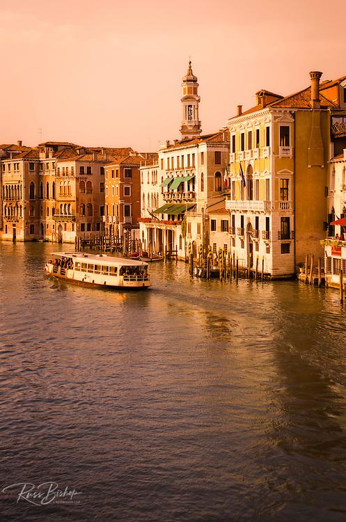 Evening light and vaporetto on the Grand Canal, Venice, Veneto, Italy