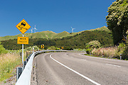 Sweeping bend on State highway 3 in the Manawatu, North Island, New Zealand