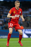 Adelaide United defender Jordan Elsey (23) warms up at the Hyundai A-League Round 7 soccer match between Melbourne Victory v Adelaide United at Marvel Stadium in Melbourne, Australia.