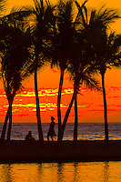 Sunset, Anaehoomalu Bay, Waikoloa Beach Marriott Resort & Spa, Waikola, The Big Island of Hawaii, Hawaii, USA