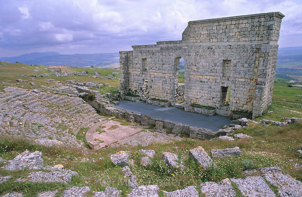 Roman theatre in the Ronda-Acinipo (Ronda la vieja) roman ruins, Andalucia, Spain