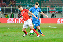 Bezjak Roman of Slovenia and Stefan Lainer of Austria during friendly football match between National teams of Austria and Slovenia on March 25, 2018 in Woerthersee Stadion, Klagenfurt, Austria. Photo by Mario Horvat / Sportida