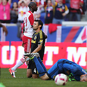 HARRISON, NEW JERSEY- OCTOBER 16:  Bradley Wright-Phillips #99 of New York Red Bulls after scoring the first of his two as Goalkeeper Brad Stuver #41 of Columbus Crew lies on the turf during the New York Red Bulls Vs Columbus Crew SC MLS regular season match at Red Bull Arena, on October 16, 2016 in Harrison, New Jersey. (Photo by Tim Clayton/Corbis via Getty Images)