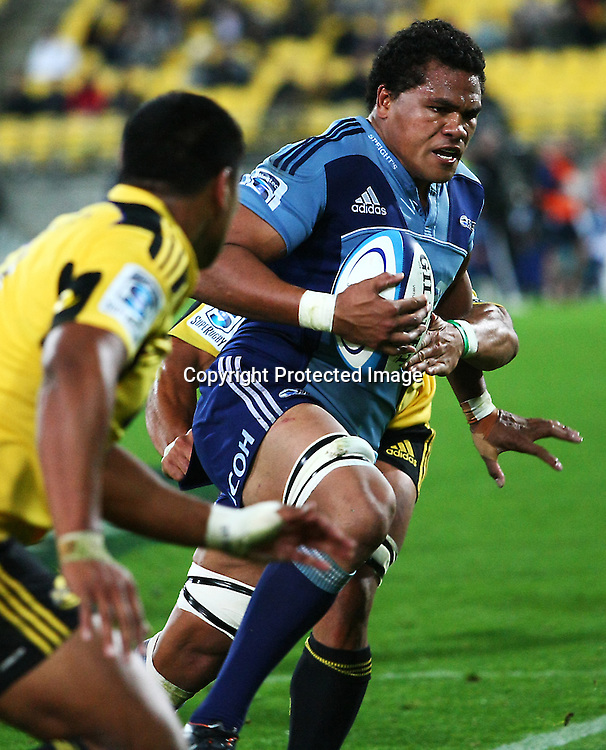 Peter Saili makes a break during their Super Rugby match, Hurricanes v Blues, Westpac stadium, Wellington, New Zealand. Friday 4 May 2012.  PHOTO: Grant Down / photosport.co.nz