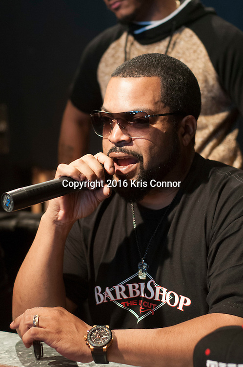 """WASHINGTON, DC - MARCH 16: Ice Cube attends the Warner Bros. Pictures' """"BARBERSHOP: THE NEXT CUT"""" event where him and Cedric the Entertainer met with fans and free haircuts where given away from the mobile barbershop truck at Busboy and Poets on March 16, 2016 in Washington, DC. (Kris Connor/Warner Bros. Pictures)"""