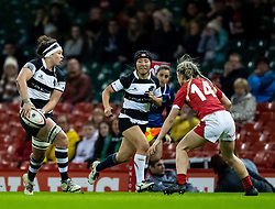 Seina Saito of Barbarians looks to pass<br /> <br /> Photographer Simon King/Replay Images<br /> <br /> Friendly - Wales v Barbarians - Saturday 30th November 2019 - Principality Stadium - Cardiff<br /> <br /> World Copyright © Replay Images . All rights reserved. info@replayimages.co.uk - http://replayimages.co.uk