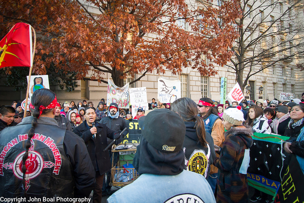 Protest and march from in front of the U.S. Capitol to the EPA, about the North Dakota Access Pipeline, as well as the effort to free Leonard Peltier.  Saturday, December 10, 2016. John Boal PhotographyDemonstrators rallied in front of the EPA, on Saturday, December 10, 2016.  The protest was in support of the demonstrations at Standing Rock, North Dakota, regarding the North Dakota Access Pipeline, as well as the effort to free Leonard Peltier. John Boal Photography