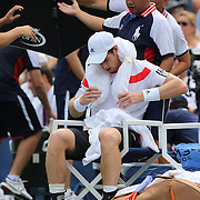 Andy Murray, Great Britain, cool off between games during his match against  Florian Mayer, Germany, during the Men's Singles competition at the US Open. Flushing. New York, USA. 1st September 2013. Photo Tim Clayton
