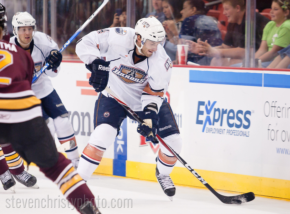 October 10, 2010: The Oklahoma City Barons play the Chicago Wolves in an American Hockey League game at the Cox Convention Center.