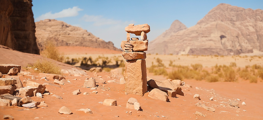 A creatively constructed cairn in the desert of Wadi Rum, Jordan.