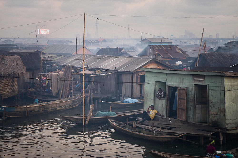 The Makoko slum, a community, under threat from eviction, built over the polluted waters of the Lagos Lagoon.