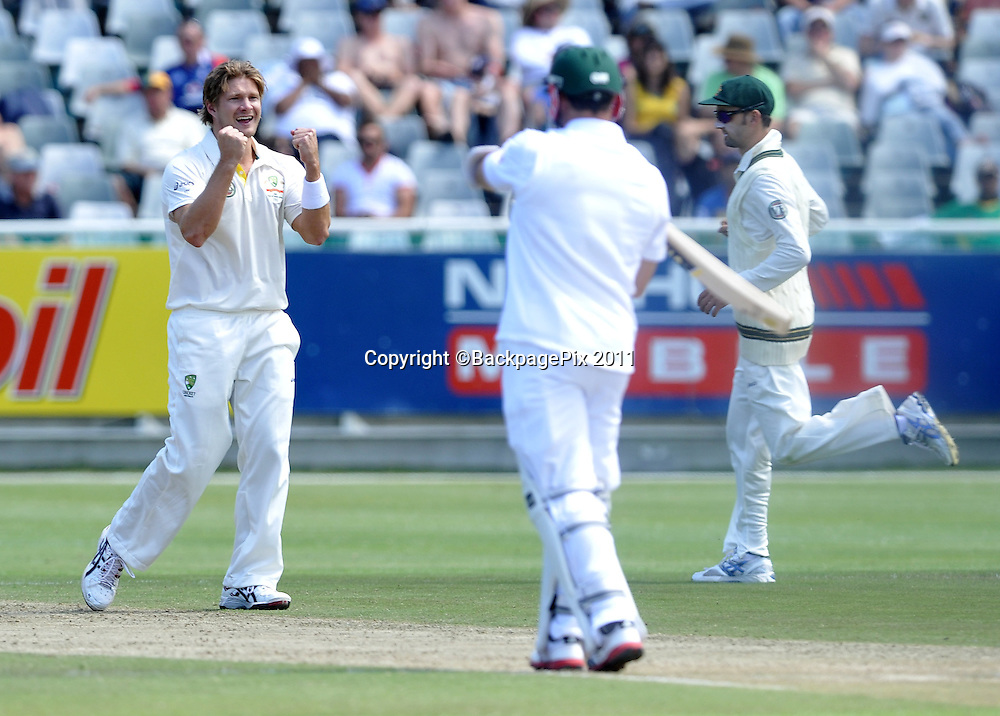 Shane Watson of Australia celebrates the wicket Ashwell Prince of South Africa. South Africa v Australia, first test, day 2, Newlands, South Africa. 10 November 2011<br /> <br /> <br /> &copy;Ryan Wilkisky/BackpagePix
