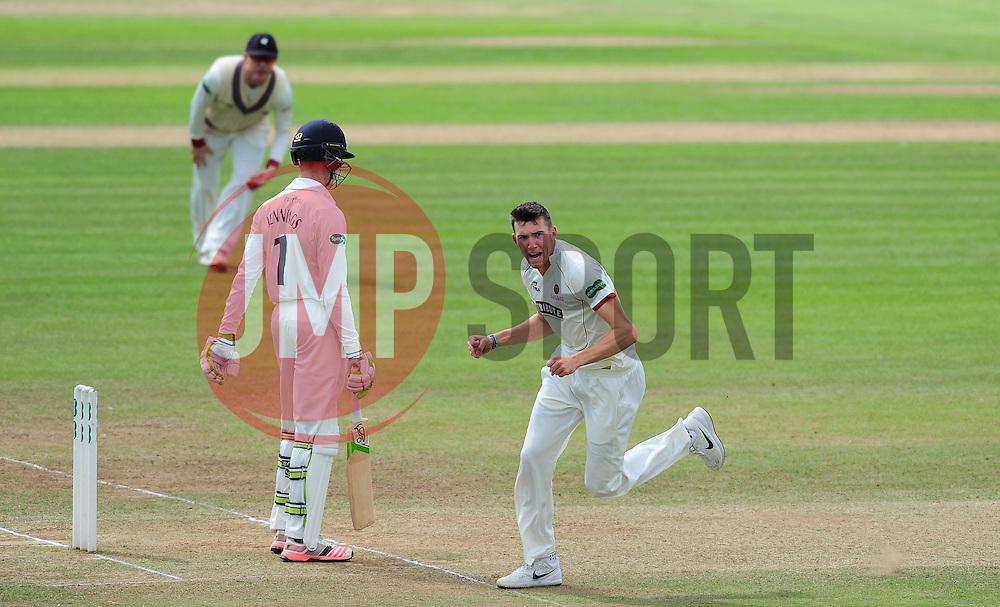 Craig Overton of Somerset celebrates the wicket of Keaton Jennings.  - Mandatory by-line: Alex Davidson/JMP - 05/08/2016 - CRICKET - The Cooper Associates County Ground - Taunton, United Kingdom - Somerset v Durham - County Championship - Day 2
