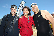 Andrew from WWF, Former Miss South Africa & Swim for Nature Ambassador Amy Kleynhans and Jeremy Harris from KFM before the start of the 200m Celebrity Splash held as part of the Bridge House Mile Swim at the Berg River Dam in Franschhoek on the 2nd November 2013<br /> <br /> Photo by Shaun Roy - WWF - Sportzpics