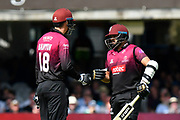 Tom Banton of Somerset and Azhar Ali of Somerset touch gloves during the Royal London 1 Day Cup Final match between Somerset County Cricket Club and Hampshire County Cricket Club at Lord's Cricket Ground, St John's Wood, United Kingdom on 25 May 2019.