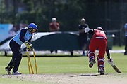 Lancashire Thunders Georgie Boyce nearly run out during the Vitality T20 Blast North Group match between Lancashire Thunder and Yorkshire Vikings at Liverpool Cricket Club, Liverpool, United Kingdom on 13 August 2019.