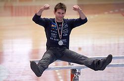 """Mitja Petkovsek with silver medal at event """"Slovenian Gymnastics stars"""" after the European Championships in Milano, on April 6, 2009, in Hall Slovan, Kodeljevo, Ljubljana, Slovenia. (Photo by Vid Ponikvar / Sportida)"""