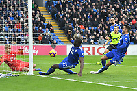 Football - 2018 / 2019 Premier League - Cardiff City vs. Huddersfield Town<br /> <br /> Sol BambaCardiff City scores but his effort is overused , at the Cardiff City Stadium.<br /> <br /> COLORSPORT/WINSTON BYNORTH