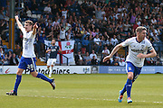 Bury Forward, Ryan Lowe equalizes 2-2  during the Sky Bet League 1 match between Bury and Southend United at the JD Stadium, Bury, England on 8 May 2016. Photo by Mark Pollitt.