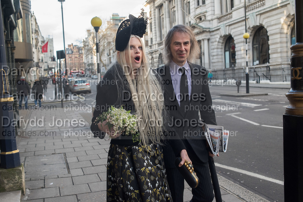 IVOR BRAKA; KRISTEN MCENEMY, guests leaving the wedding receptions for Jerry Hall to Rupert Murdoch, Spencer House, London. 5 March 2016