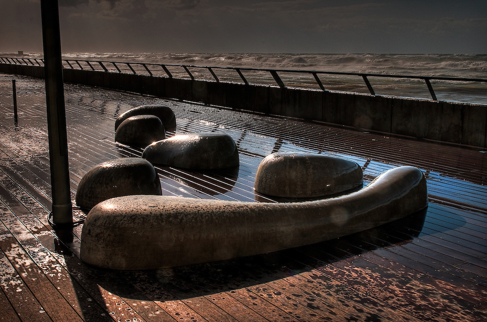 Stone sculpture at Tel-Aviv beach promenade