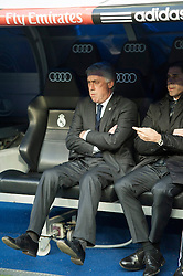 14.02.2015, Estadio Santiago Bernabeu, Madrid, ESP, Primera Division, Real Madrid vs Deportivo La Coruna, 23. Runde, im Bild Real Madrid&acute;s coach Carlo Ancelotti // during the Spanish Primera Division 23rd round match between Real Madrid vs Deportivo La Coruna at the Estadio Santiago Bernabeu in Madrid, Spain on 2015/02/14. EXPA Pictures &copy; 2015, PhotoCredit: EXPA/ Alterphotos/ Luis Fernandez<br /> <br /> *****ATTENTION - OUT of ESP, SUI*****
