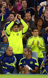 Chelsea's Diego Costa celebrates Chelsea's Cesc Fabregas's goal   - Photo mandatory by-line: Joe Meredith/JMP - Mobile: 07966 386802 - 17/09/2014 - SPORT - FOOTBALL - London - Stamford Bridge - Chelsea v Schalke 04 - Champions League Group Stage