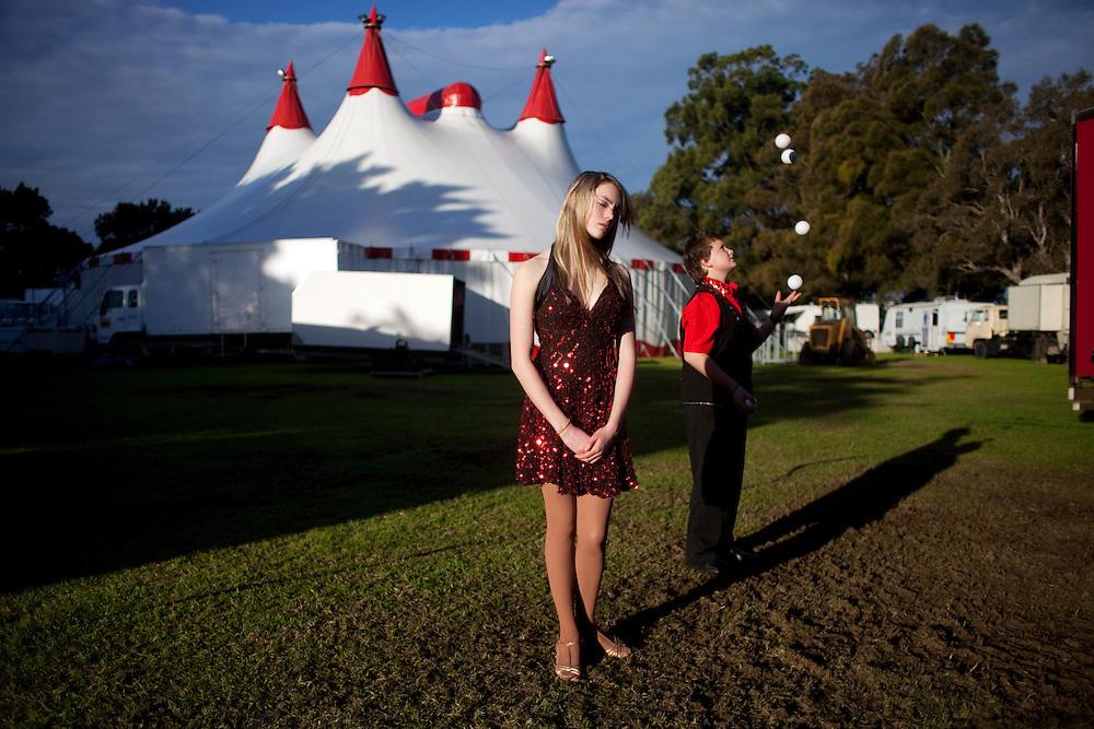 Dakoda and Cody outside Webbers Circus, Tempe, Sydney. 2009.
