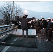 manifestazione No tav Bussoleno in Val Susa il 3 marzo 2012<br /> Buttate giù le barriere sulla A32 posizionate dalla polizia