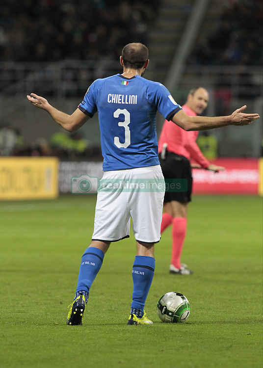 November 13, 2017 - Milan, Italy - Giorgio Chiellini during the playoff match for qualifying for the Football World Cup 2018  between Italia v Svezia, in Milan, on November 13, 2017. (Credit Image: © Loris Roselli/NurPhoto via ZUMA Press)