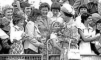 Her Majesty Queen Elizabeth II on a walk-about during her Silver Jubilee visit to N Ireland on 10th & 11th August 1977. 197708100074b<br />