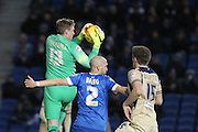 David Stockdale managed to keep a clean sheet at the 100th Game at the American Express Community Stadium during the Sky Bet Championship match between Brighton and Hove Albion and Leeds United at the American Express Community Stadium, Brighton and Hove, England on 24 February 2015. Photo by Stuart Butcher.