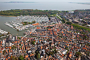 Nederland, Noord-Holland, Waterland, 28-04-2010; Monnickendam met haven en jachthaven, Gouwzee in de achtergrond..luchtfoto (toeslag), aerial photo (additional fee required).foto/photo Siebe Swart