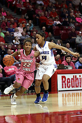 05 February 2016: Shakeela Fowler(22) cuts hard in on the baseline to pass Tierra Webb and get off her shot. Illinois State University Women's Redbird Basketball team hosted the Sycamores of Indiana State for a Play4 Kay game at Redbird Arena in Normal Illinois.