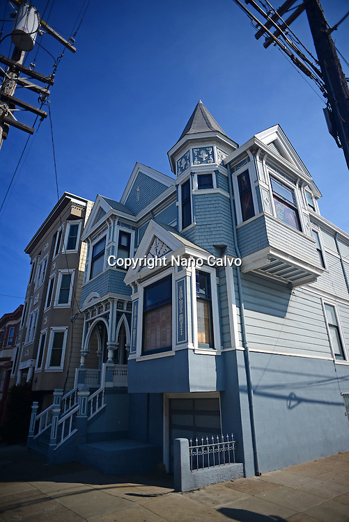Blue house building in San Francisco.