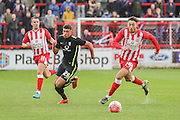 York City midfielder Ben Godfrey and Accrington Stanley midfielder Matt Crooks  during the The FA Cup match between Accrington Stanley and York City at the Fraser Eagle Stadium, Accrington, England on 7 November 2015. Photo by Simon Davies.