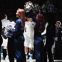 Penn State senior Nick Colella (center) waits for his named to be called during the pre-game introductions before the start of an NCAA basketball game in Unversity Park, Pa., Wedneday, February 27, 2013.