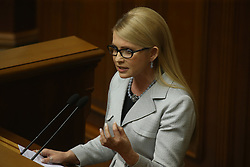 Former Ukrainian Prime Minister and leader of the Fatherland party Yulia Tymoshenko speaks at a parliament session in Kiev, Ukraine on April 14, 2016. The Ukrainian parliament approved the formation of a new cabinet on Thursday following a replacement of the prime minister. EXPA Pictures © 2016, PhotoCredit: EXPA/ Photoshot/ Xinhua<br /> <br /> *****ATTENTION - for AUT, SLO, CRO, SRB, BIH, MAZ, SUI only*****