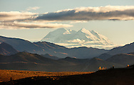 Evening light on Denali (formerly Mt. McKinley) and the surrounding mountains in Denali National Park in Interior Alaska. Autumn.