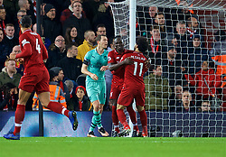 LIVERPOOL, ENGLAND - Saturday, December 29, 2018: Liverpool's Sadio Mane celebrates scoring the third goal with team-mate Mohamed Salah during the FA Premier League match between Liverpool FC and Arsenal FC at Anfield. (Pic by David Rawcliffe/Propaganda)