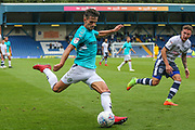 Forest Green Rovers Liam Shephard(2) crosses the ball during the EFL Sky Bet League 2 match between Bury and Forest Green Rovers at the JD Stadium, Bury, England on 18 August 2018.