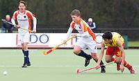 AERDENHOUT - 09-04-2012 - Jasper Brinkman, maandag tijdens de finale tussen Nederland Jongens B en Spanje Jongens B  (3-1) , tijdens het Volvo 4-Nations Tournament op de velden van Rood-Wit in Aerdenhout. Jongens U16 wordt kampioen.FOTO KOEN SUYK