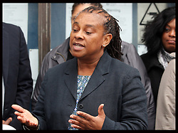 Doreen Lawrence  speaks outside the Old Bailey after the sentencing  in the Stephen Lawrence trial , Wednesday 4th January 2012. Photo by: Stephen Lock / i-Images