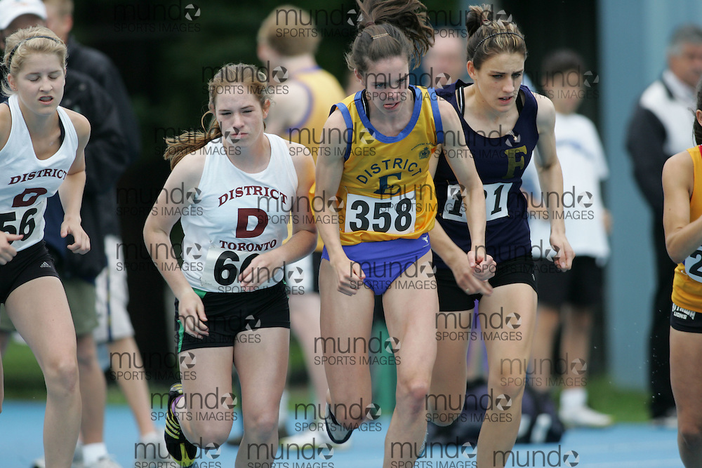 Catherine Zidar and Amanda Truelove and Sarah Healey competing in the 1500m at the 2007 Ontario Legion Track and Field Championships. The event was held in Ottawa on July 20 and 21.