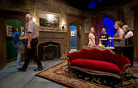 Cast and crew quickly went to work as they strike the Mousetrap set following the final performance on Saturday evening to prepare for the upcoming Ballyhoo production beginning Wednesday.  (Karen Bobotas/for the Laconia Daily Sun)