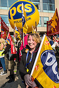 PCS member Emma at the TUC demo at the Conservative party conference, Manchester. 4th October 2015