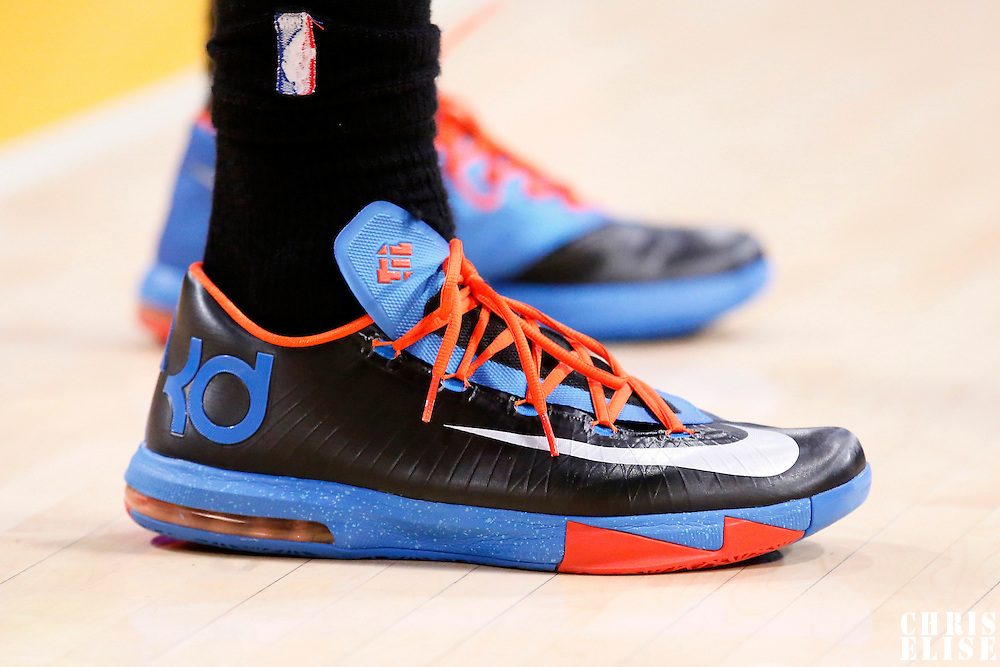 09 March 2014: Close view of Oklahoma City Thunder small forward Caron Butler (2) Nike shoes during the Los Angeles Lakers 114-110 victory over the Oklahoma City Thunder at the Staples Center, Los Angeles, California, USA.
