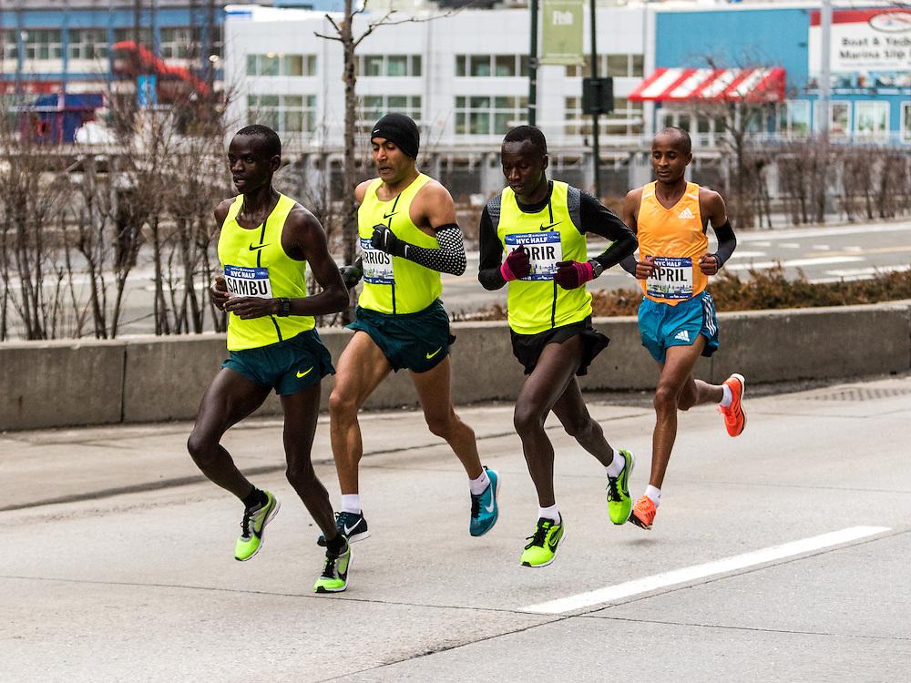 NYRR New York City Half Marathon road race: lead pack of men on Westside Highway, Sambu, Barrios, Korir, April