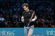 Andy Murray celebrates winning game during the ATP World Tour Finals at the O2 Arena, London, United Kingdom on 20 November 2015. Photo by Phil Duncan.